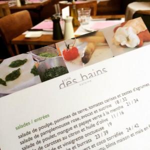 La carte du Café des Bains