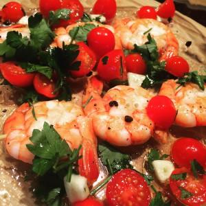 mes crevettes marinées et grillées