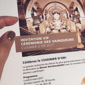 Invitation Gala VIP Cuisinier d'Or